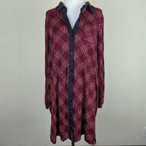 Pendleton Plaid Burgandy Button Down Shirt Dress